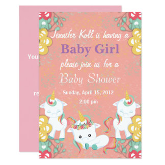 Cute Unicorns and Floral Baby Shower Invitation