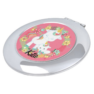 Cute Unicorns and Floral Personalized Compact Mirror