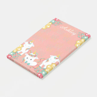 Cute Unicorns and Floral Personlized Post-it Notes