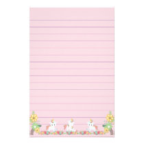 Cute Unicorns and Floral Stationery