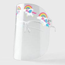 Cute Unicorns and Rainbows Cartoon Face Shield
