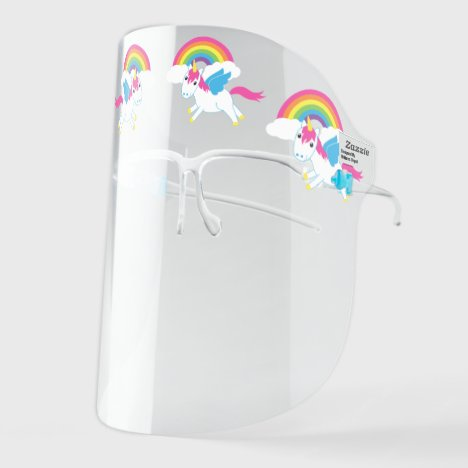 Cute Unicorns and Rainbows Cartoon Face Shield