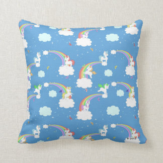 Cute Unicorns and Rainbows Throw Pillow
