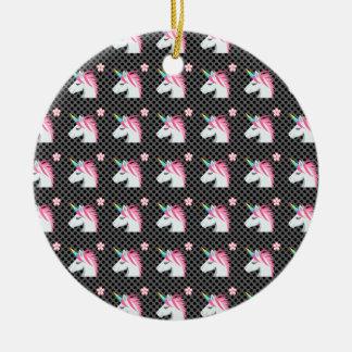Cute Unicorns Flower Emoji Polka Dots Pattern Ceramic Ornament