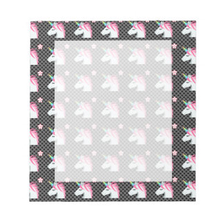 Cute Unicorns Flower Emoji Polka Dots Pattern Notepad