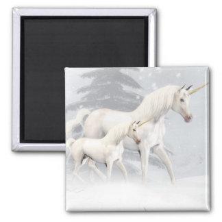 Cute Unicorns In Snow 1 2 Inch Square Magnet
