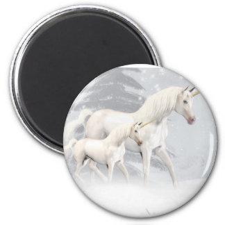 Cute Unicorns In Snow 1 Fridge Magnet