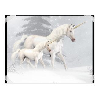 Cute Unicorns In Snow 1 Postcard