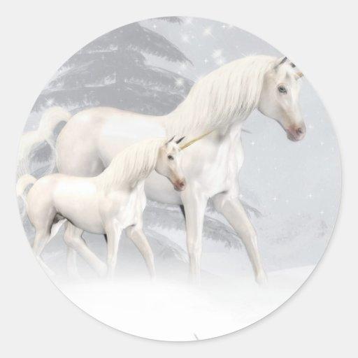 Cute Unicorns In Snow 1 Round Sticker