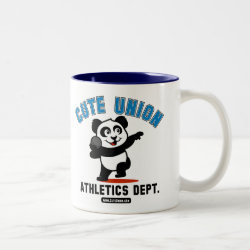 Two-Tone Mug with Cute Union Athletics Dept: Shot Put design