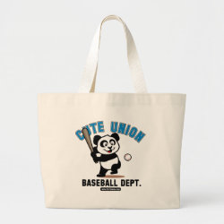 Jumbo Tote Bag with Cute Union Baseball Department design
