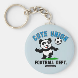 Basic Button Keychain with Cute Union Football Department design