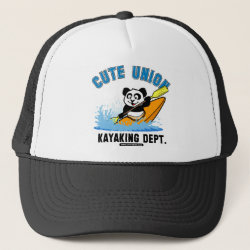 Trucker Hat with Cute Union Kayaking Department design