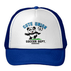 Trucker Hat with Cute Union Soccer Dept design