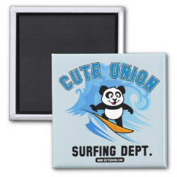 Square Magnet with Cute Union Surfing Dept design
