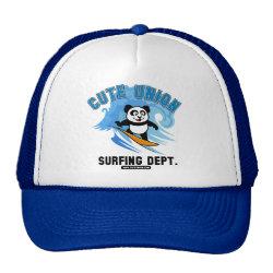 Trucker Hat with Cute Union Surfing Dept design