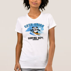 Women's American Apparel Fine Jersey Short Sleeve T-Shirt with Cute Union Surfing Dept design
