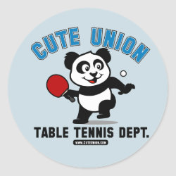Round Sticker with Cute Union Table Tennis Dept design