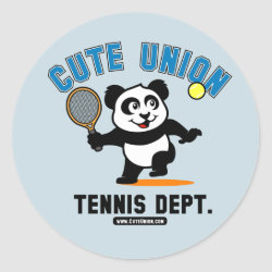 Round Sticker with Cute Union Tennis Dept design