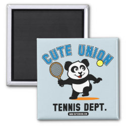 Square Magnet with Cute Union Tennis Dept design
