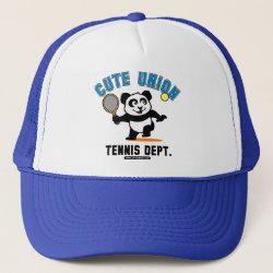 Trucker Hat with Cute Union Tennis Dept design