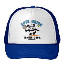 Trucker Hat with Cute Union Tennis Dept design