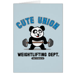 Greeting Card with Cute Union Weightlifting Dept design
