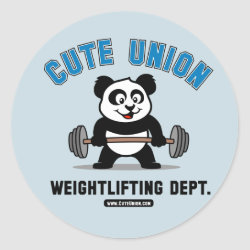 Round Sticker with Cute Union Weightlifting Dept design