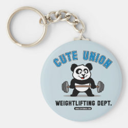 Basic Button Keychain with Cute Union Weightlifting Dept design