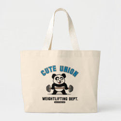 Jumbo Tote Bag with Cute Union Weightlifting Dept design