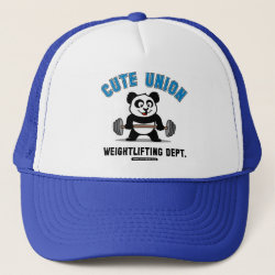Trucker Hat with Cute Union Weightlifting Dept design