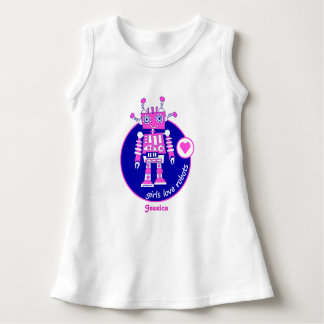 CUTE UNIQUE BRIGHT PINK GIRLS ROBOT PERSONALIZED DRESS