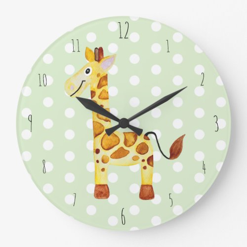Cute Unisex Watercolor Giraffe Safari Dots Nursery Large Clock