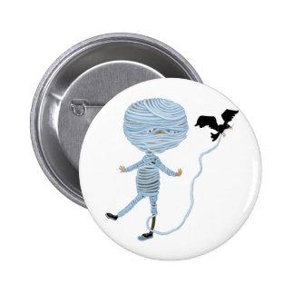 cute unraveling mummy pinback button