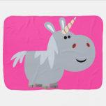 Cute Unscrutable Cartoon Unicorn Baby Blanket