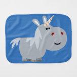 Cute Unscrutable Cartoon Unicorn Burp Cloth