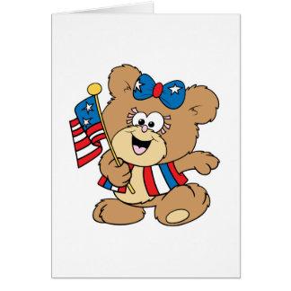 cute USA patriotic girl teddy bear design Card