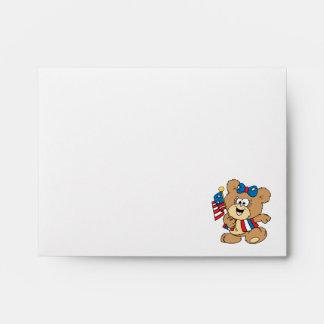 cute USA patriotic girl teddy bear design Envelope