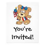 cute USA patriotic girl teddy bear design Invitations
