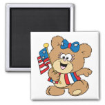cute USA patriotic girl teddy bear design Refrigerator Magnets