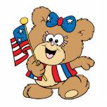 cute USA patriotic girl teddy bear design Photo Cutouts