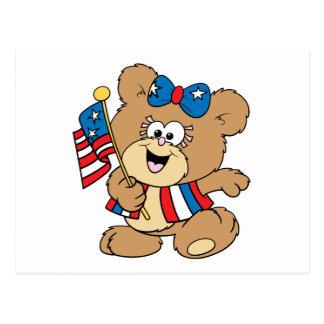 cute USA patriotic girl teddy bear design Postcard