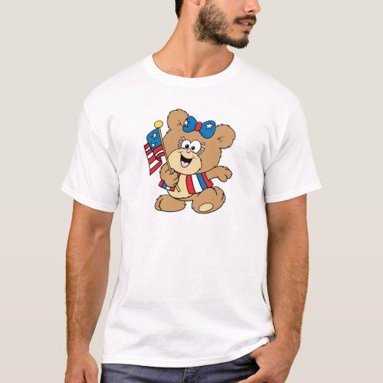 cute USA patriotic girl teddy bear design T-Shirt