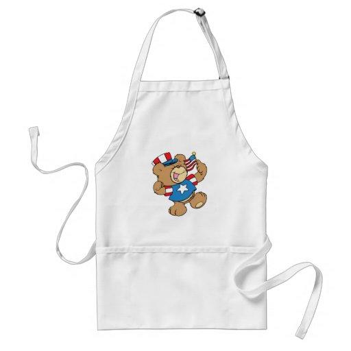 cute USA patriotic teddy bear design Adult Apron