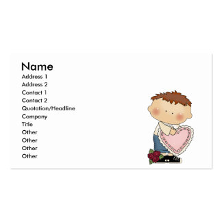 cute valentine boy tot toddler business card templates