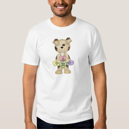 cute valentine candy hearts puppy dog t-shirt