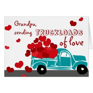 Cute Valentine Card Truck for Grandpa