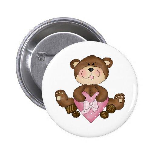cute valentine chocolates bear 2 inch round button
