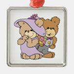 cute valentine date teddy bear couple christmas tree ornament