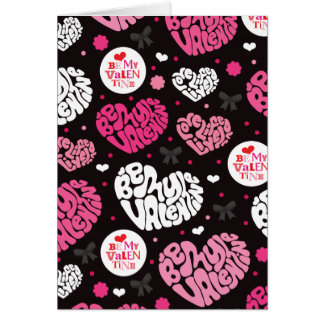 Cute Valentine heart typography design card